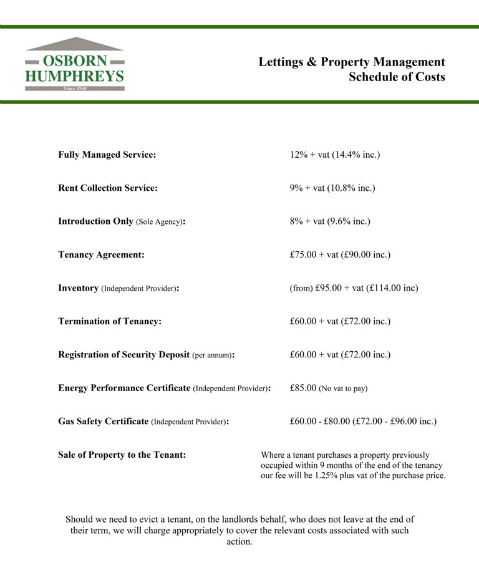 Schedule of Costs (Lettings)